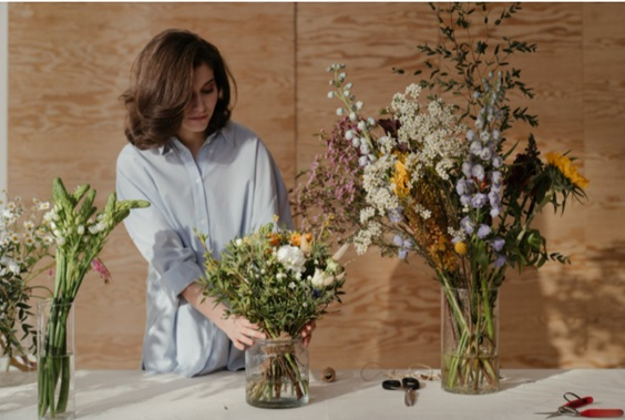 women at flower shop