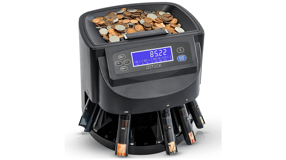 DETECK Aura Coin Counter Machine Automatic Coin Roller
